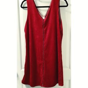 Deep Red Suede Tank Dress